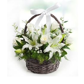 White Roses and Lilies Basket