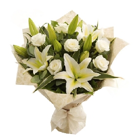 Lilies and White Rose Bouquet