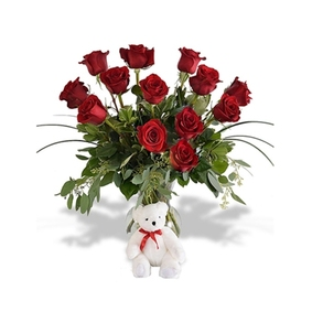 13 Roses in Vase and Teddy Bear