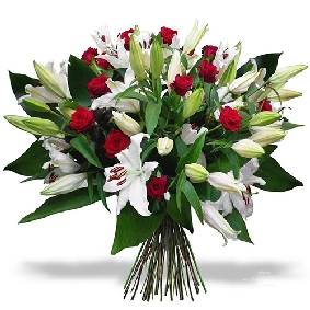 Lilies and Red Rose Bouquet