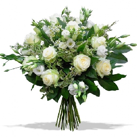 9 white roses and Lisyantus Bouquet